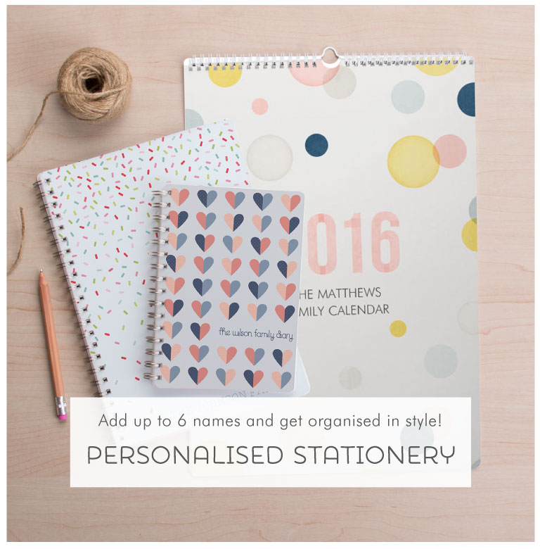 Get organised in style with Tinyme Personalised Stationery