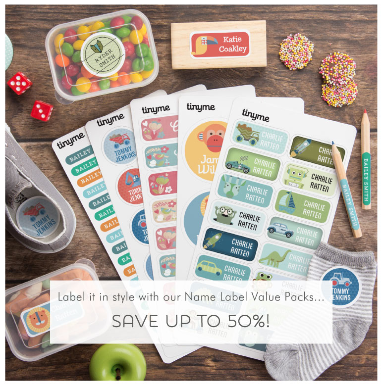 Save up to 50% with our Name Label Value Packs